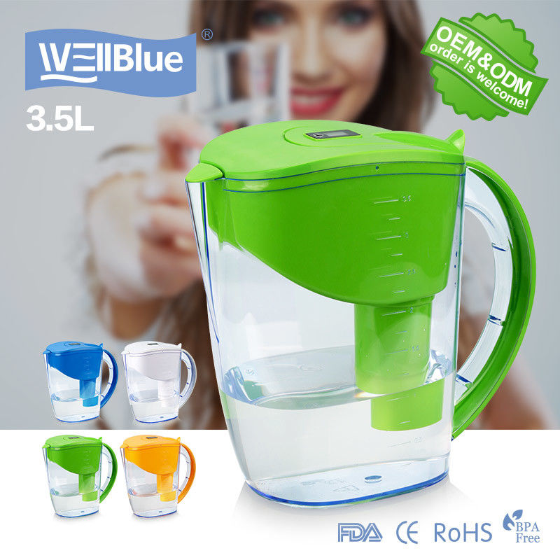 High PH Level Alkaline Classic Water Pitcher 3.5L Capacity With Digital Indicator