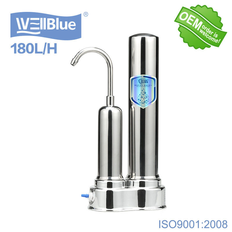 Household Ceramic Countertop Water Filter With Stainless Steel Faucet